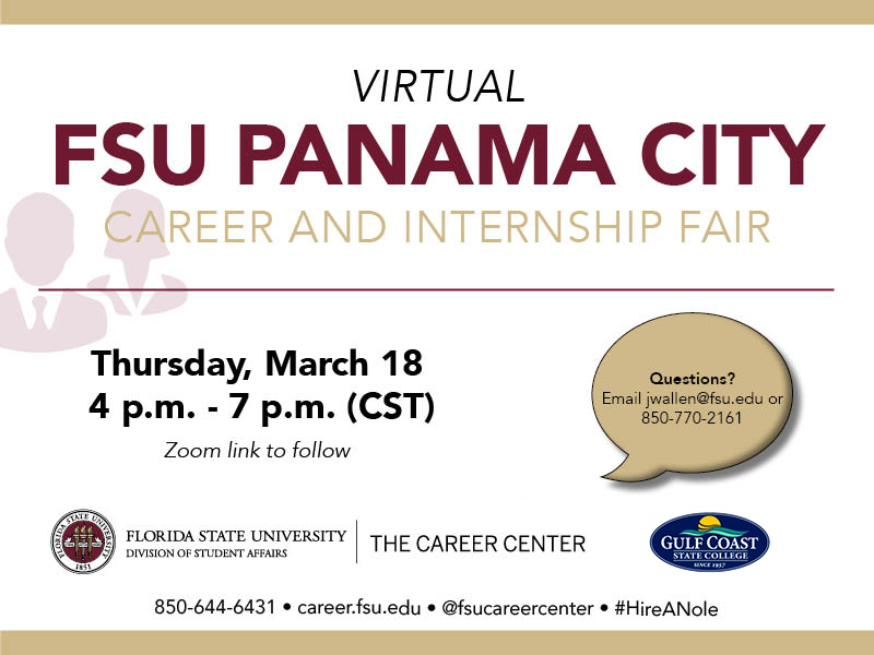 Career and Internship Fair: Thursday, March 18th From 4pm - 6pm (cst)